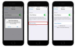 iPhone eseguire backup iCloud iTunes