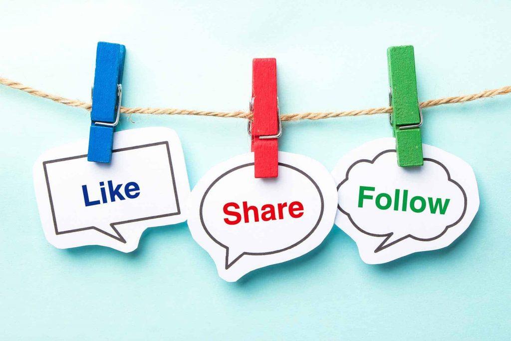 condividi e like articolo blog