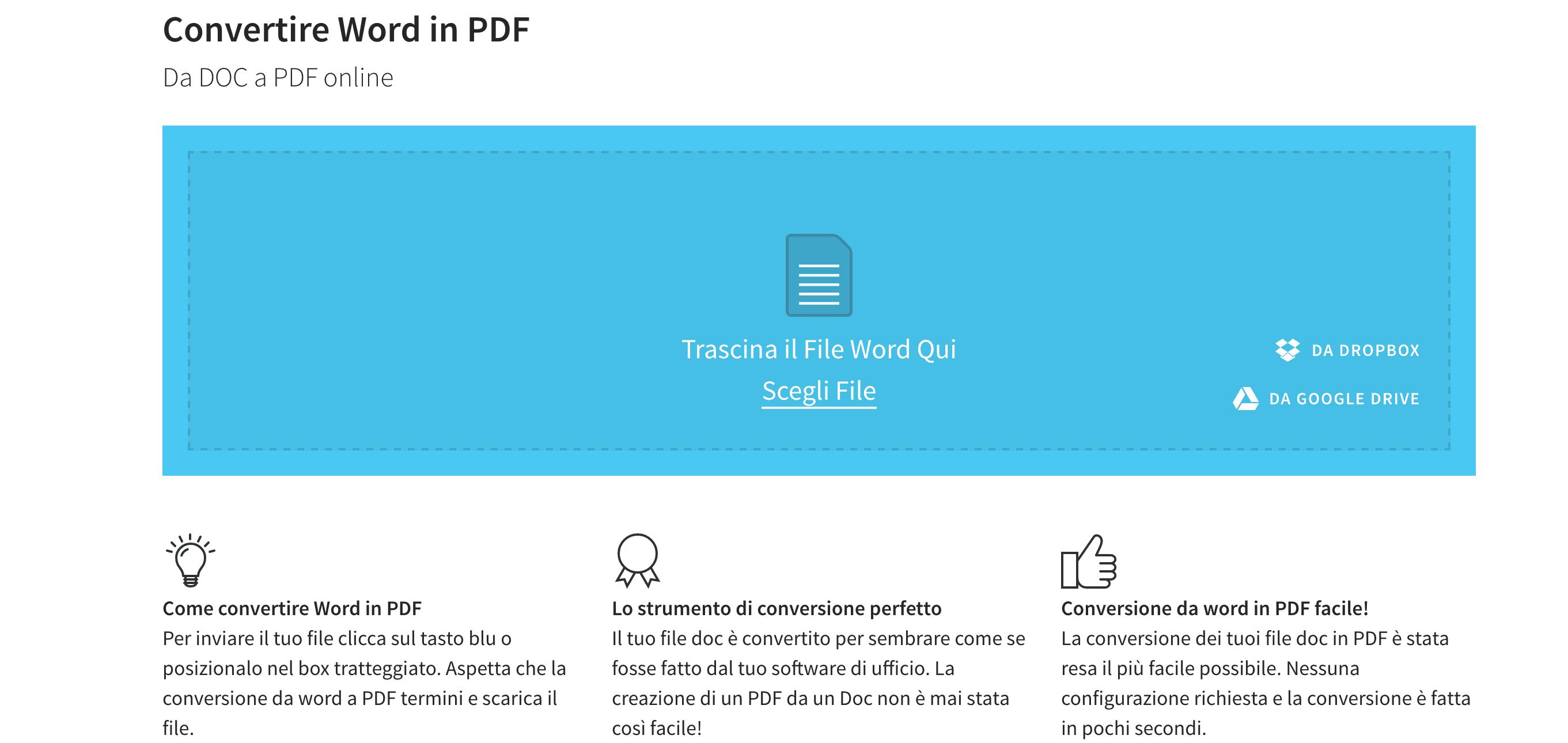 convertire word in pdf gratuitamente