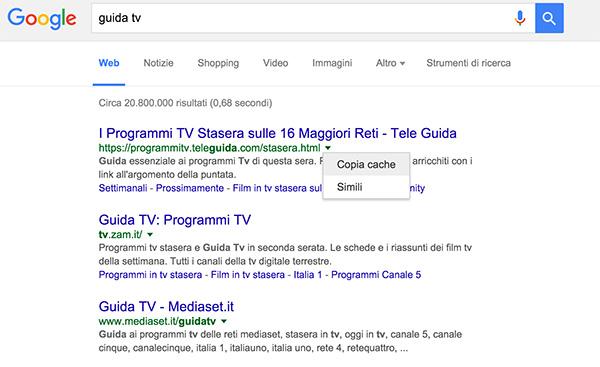 visita pagina google in copia cache