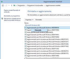 disinstallare aggiornamento windows7