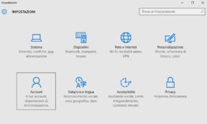 pannello impostazioni account utente windows 10