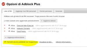 impostazioni avanzate adblockplus chrome