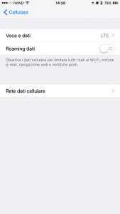 iphone impostazioni cellulare 4g