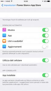 schermata impostazioni app store iphone