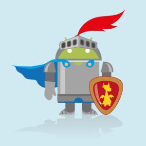 logo google android con scudo e corazza