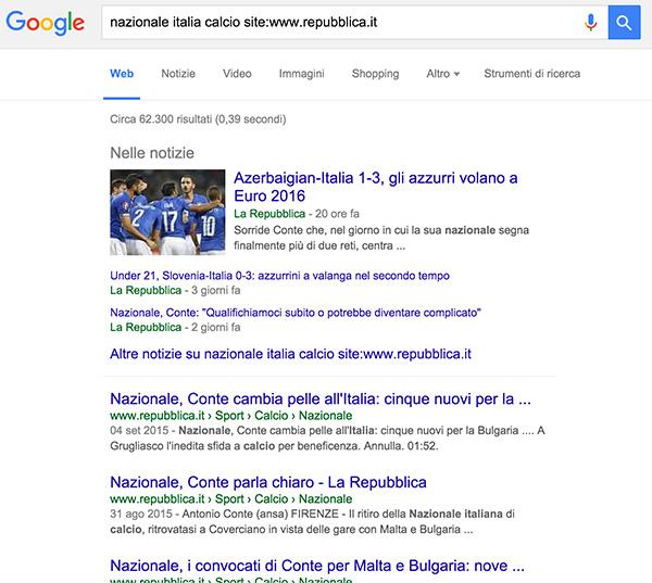 ricerca google tramite operatore site