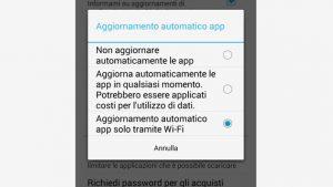 disattivare aggiornamenti app play store android opzione