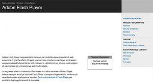 pagina test versione flash player