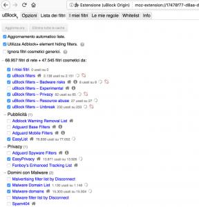 ublock lista filtri anti pubblicità