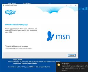 unchecky blocca adware di skype