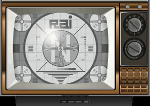 vecchia televisione con segnale rai tv