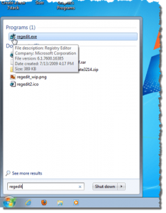 accedere registro sistema regedit windows7